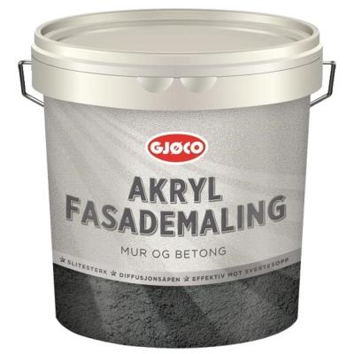 Краска акриловая фасадная латексная Gjoco Akryl Fasademaling (vit), 9 л